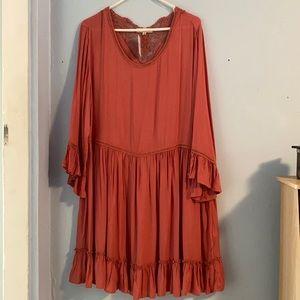 Indigo Soul Dress Bohemian Style Rust Orange XL